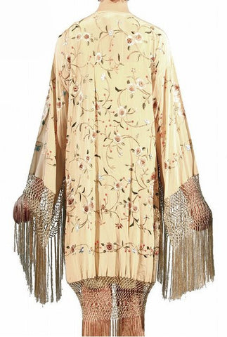 The 1920's Oriental Piano Silk Embroidered Flamenco Lounging Robe - Bisque - The Deco Haus