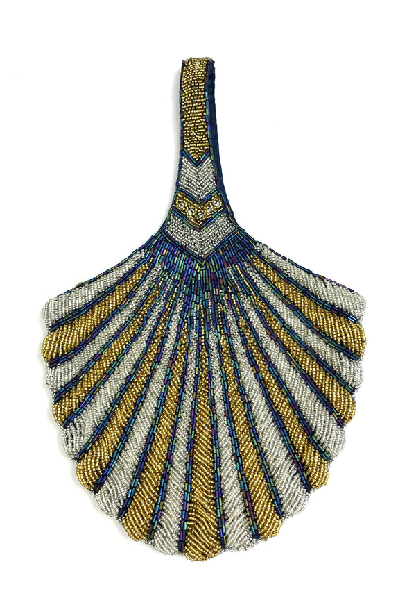 1920's Hand Beaded Deco Fan Wristlet Evening Tote - Large - Two-Tone Silver & Glamour Gold