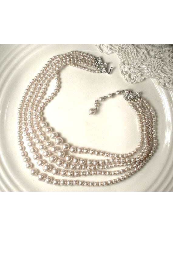Layered Multi Pearl Gatsby Flapper Party Necklace - The Deco Haus