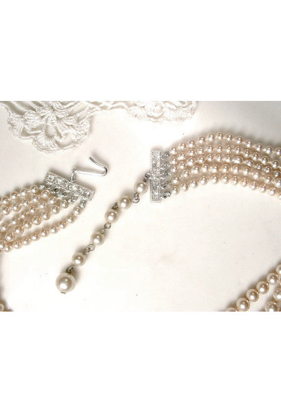 Champagne Pearl Gatsby Flapper Layered Party Necklace