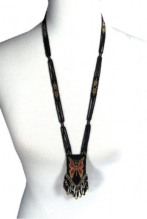 1920s Vintage Beaded Sautoir Necklace - The Deco Butterfly - The Deco Haus