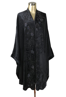 1920s Shawls, Scarves and Evening Jacket Tips 1920S ART DECO HAND BEADED VELVET OPERA WRAP - BLACK JET $494.95 AT vintagedancer.com