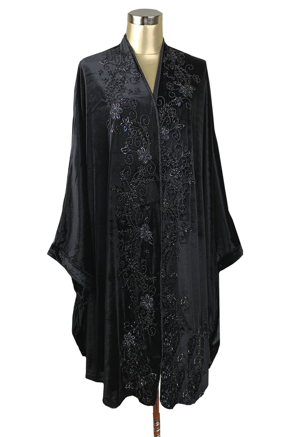 Limited Edition 1920's Art Deco Hand Beaded Velvet Opera Wrap - Black Jet - The Deco Haus