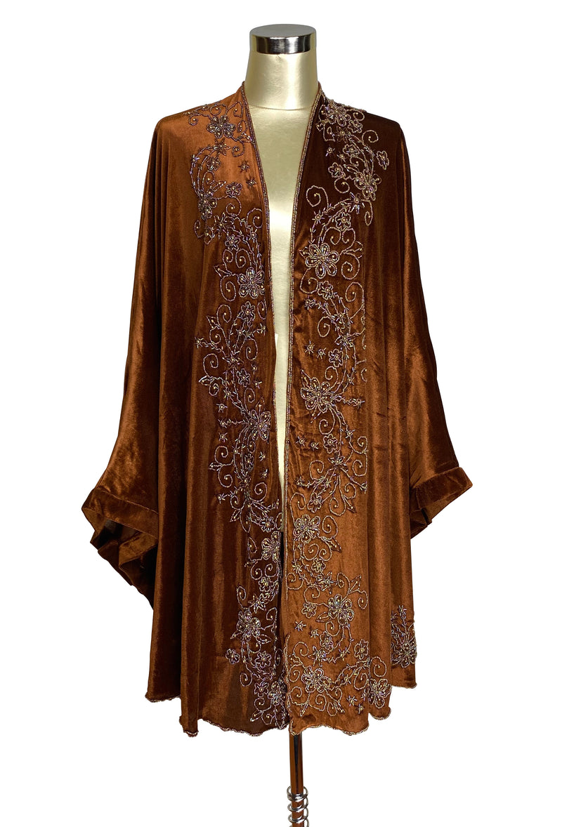 Limited Edition 1920's Art Deco Hand Beaded Velvet Opera Wrap - Copper