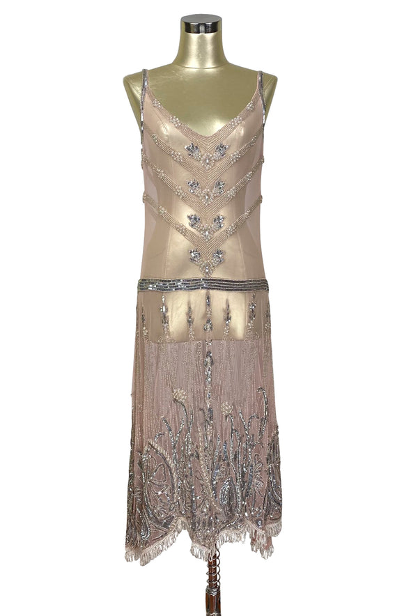 Limited Edition 1920's Luxury Vintage Gatsby Beaded Party Dress - The Fontaine - Blush Pink