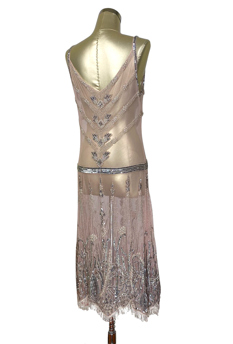 Limited Edition 1920's Luxury Vintage Gatsby Beaded Party Dress - The Fontaine - Blush Pink - The Deco Haus