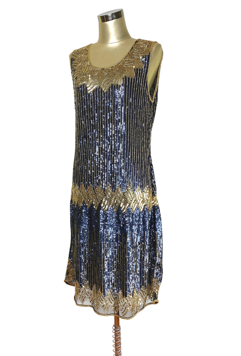 Limited Edition 1920's Luxury Vintage Gatsby Sequin Cocktail Dress - The Carlyle - Midnight Blue