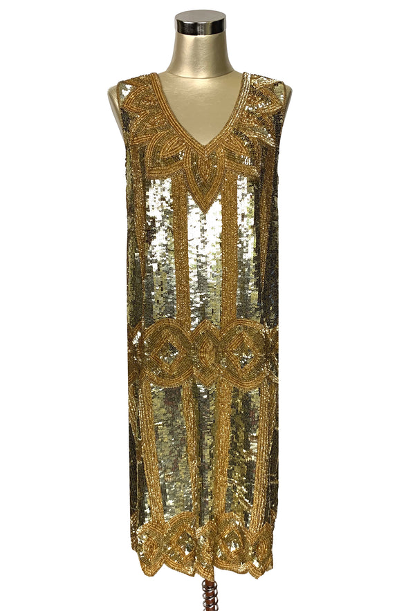 Limited Edition 1920's Handbeaded Vintage Art Deco Gown - The Golden Goddess - The Deco Haus