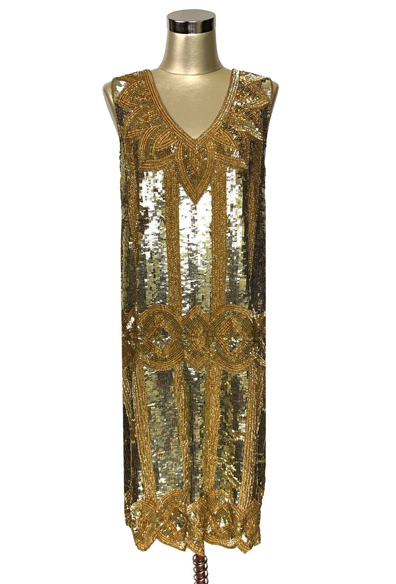 Limited Edition 1920's Handbeaded Vintage Art Deco Gown - The Golden Goddess
