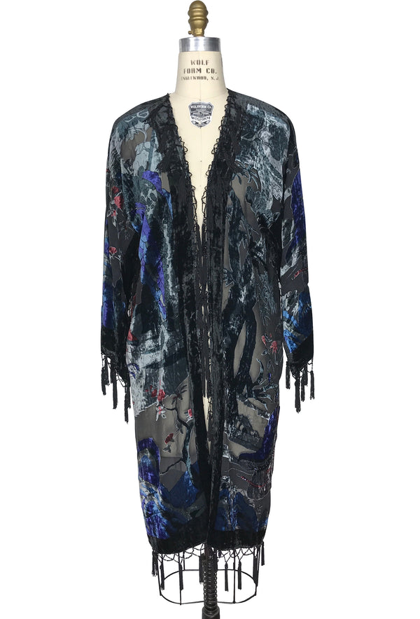 Limited Edition 1930's Silk Velvet Tassel Vintage Japanese Figural Jacket - Black - The Deco Haus