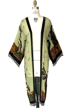 Limited Edition Great Gatsby Silk Chiffon Fringe 20s Dressing Room Jacket - Deco Green - The Deco Haus