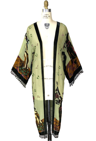 Limited Edition Great Gatsby Silk Chiffon Fringe 20s Dressing Room Jacket - Deco Green