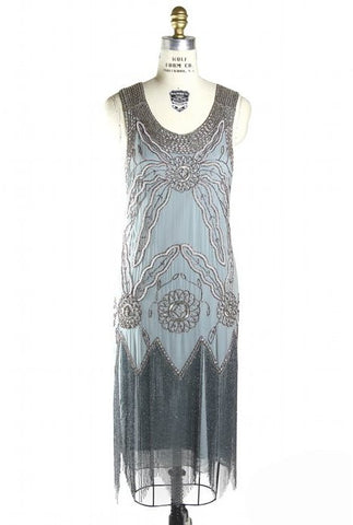 Vintage Gatsby 20s Silk Beaded Fringe Party Dress - The Lindy - Phantom Grey - The Deco Haus