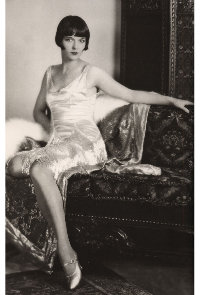 The Louise Brooks Celebrity Silk Gown - Silver on White