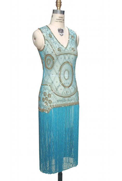 1920s Style Dresses, Flapper Dresses 1920s Gatsby Flapper Fringe Party Dress - The Lulu - Gold on Turquoise $129.95 AT vintagedancer.com