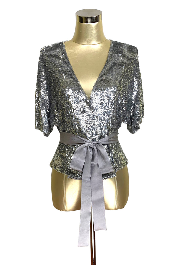 Luxe 1930's Art Deco Liquid Sequin Cocktail Kimono Jacket - Platinum - The Deco Haus