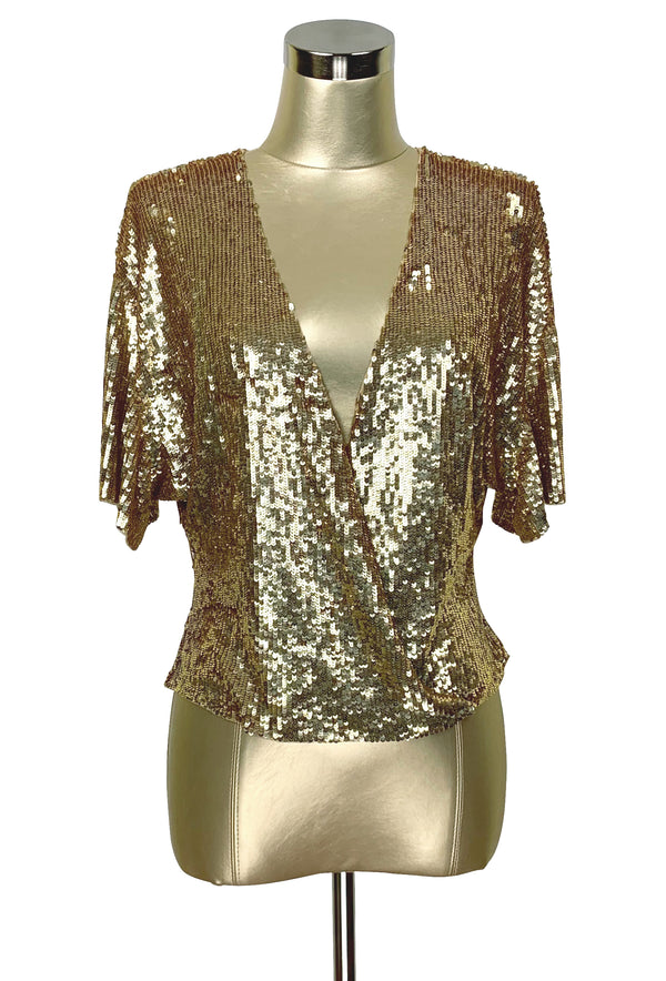 Luxe 1930's Art Deco Liquid Sequin Cocktail Kimono Jacket - Gold - The Deco Haus