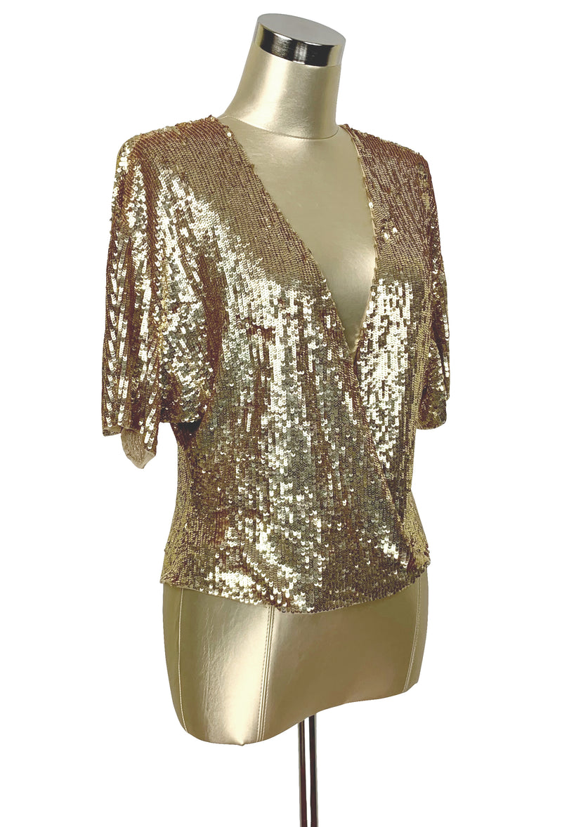 Luxe 1930's Art Deco Liquid Sequin Cocktail Kimono Jacket - Gold