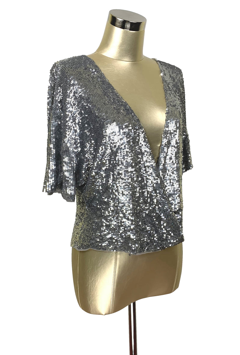 Luxe 1930's Art Deco Liquid Sequin Crossover Cocktail Jacket - Platinum