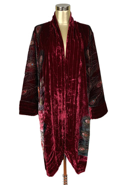 1920s Shawls, Scarves and Evening Jacket Tips LUXE ART DECO 1920S SILK VELVET BEADED PEACOCK LOUNGING ROBE - BURGUNDY $274.95 AT vintagedancer.com