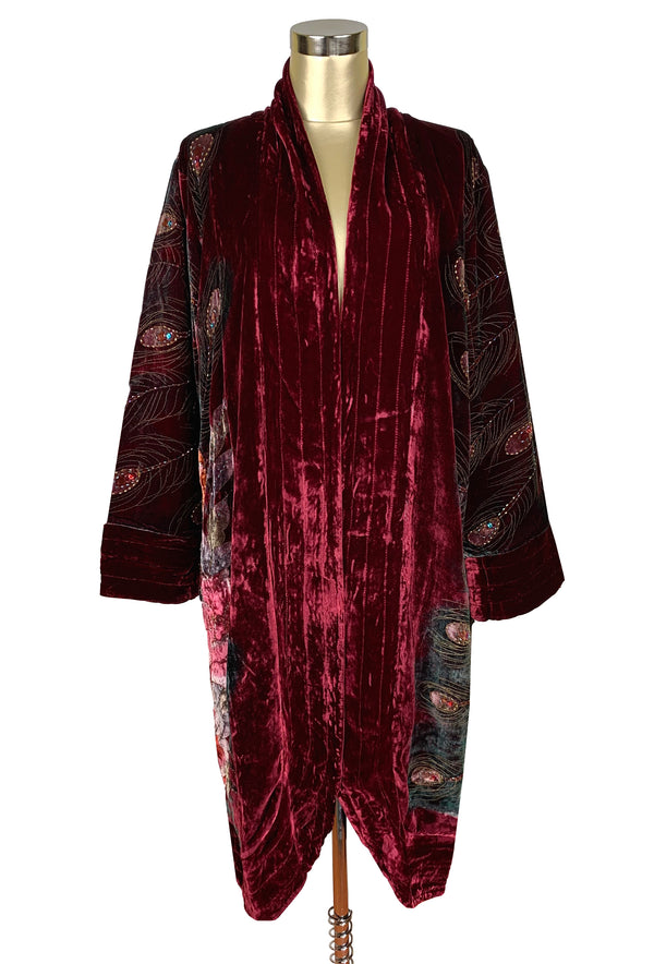 Luxe Art Deco 1920s Silk Velvet Beaded Peacock Lounging Robe - Burgundy - The Deco Haus
