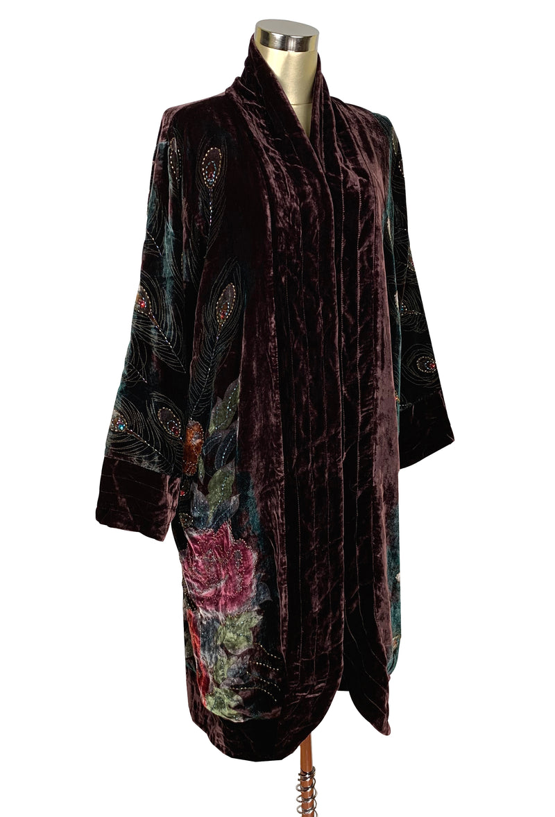 Luxe Art Deco 1920s Silk Velvet Beaded Peacock Lounging Robe - Chocolate - The Deco Haus