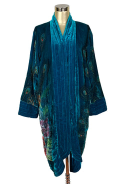 Luxe Art Deco 1920s Silk Velvet Beaded Peacock Lounging Robe - Turquoise