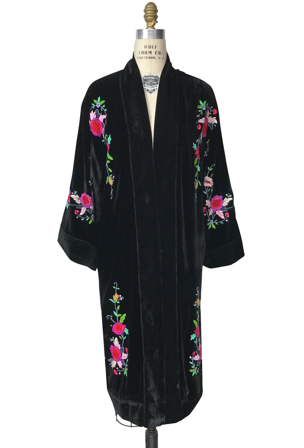 Luxe Art Deco Embroidered 1920s Velvet Lounging Robe - Black