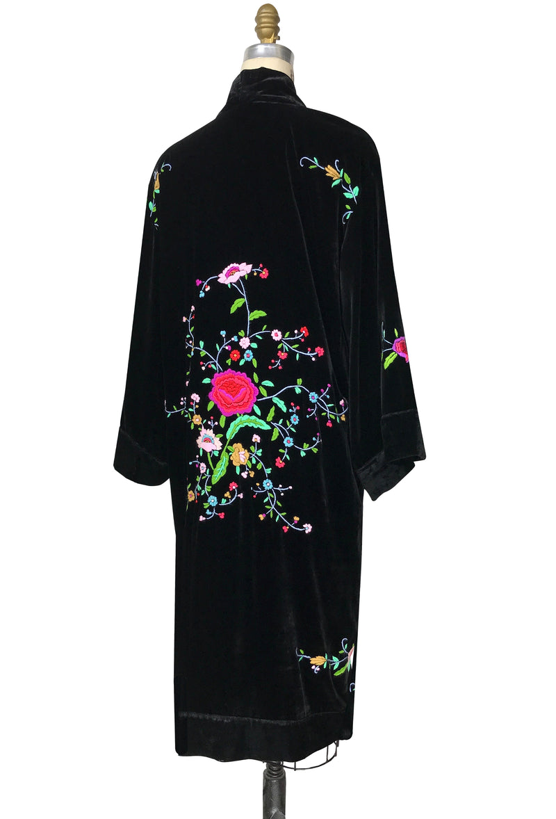 Luxe Art Deco Embroidered 1920s Velvet Lounging Robe - Black - The Deco Haus