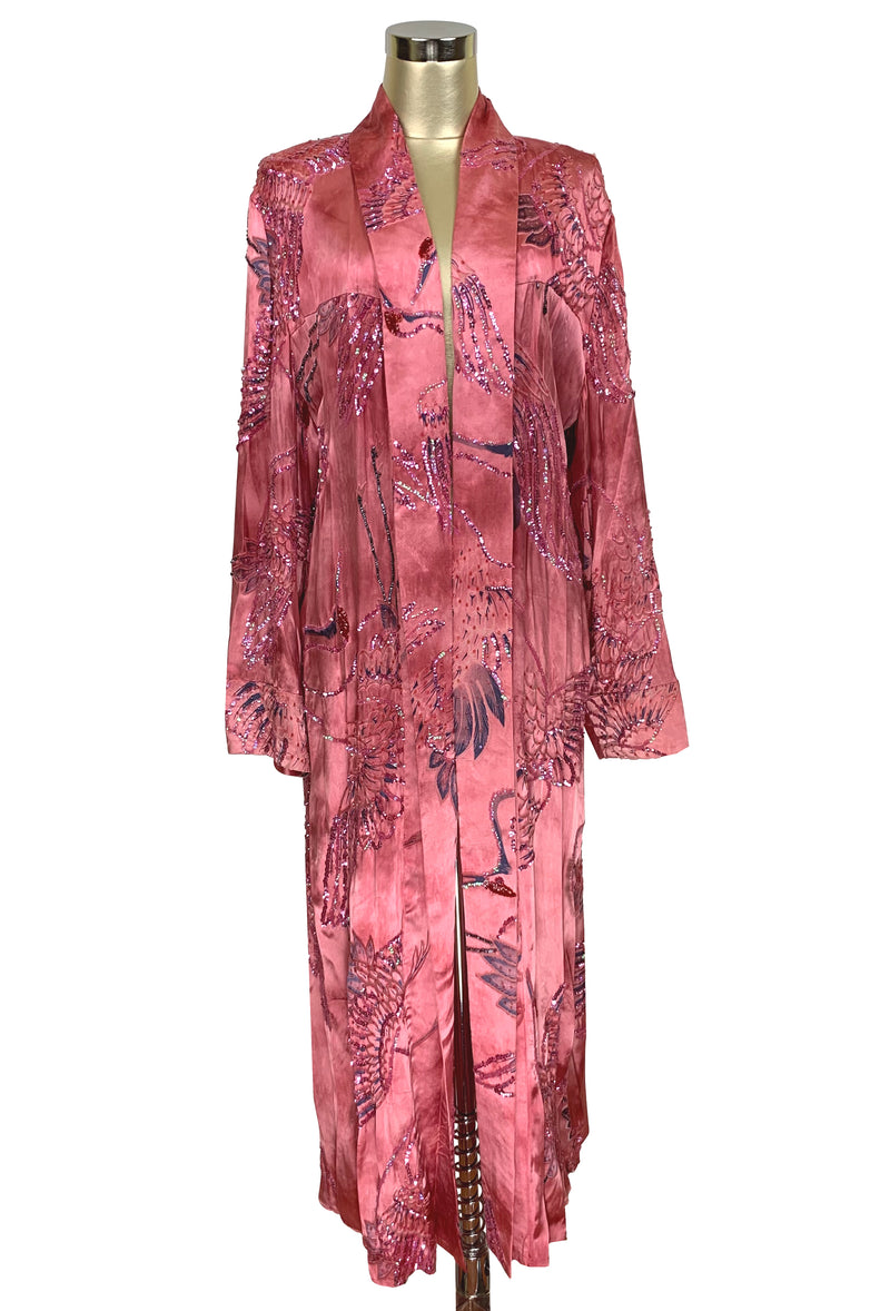 Luxe Art Deco Satin Hand-Dye Beaded 1920s Japanese Swan Lounging Robe - Flamingo Pink