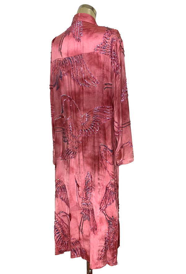 Luxe Art Deco Satin Hand-Dye Beaded 1920s Japanese Swan Lounging Robe - Flamingo Pink - The Deco Haus