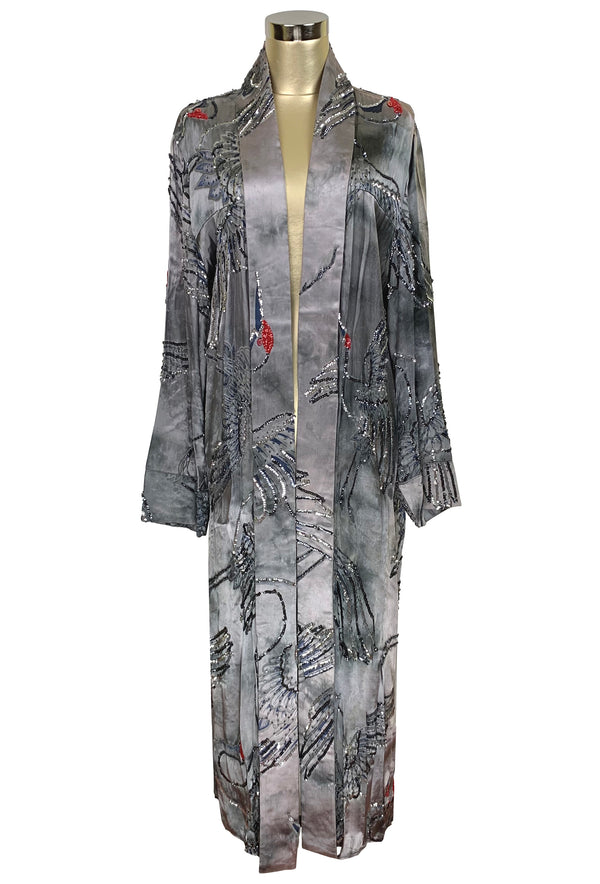 Luxe Art Deco Satin Hand-Dye Beaded 1920s Japanese Swan Lounging Robe - Platinum