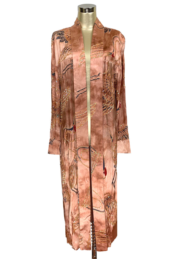 Luxe Art Deco Satin Hand-Dye Beaded 1920s Japanese Swan Lounging Robe - Terra Cotta - The Deco Haus