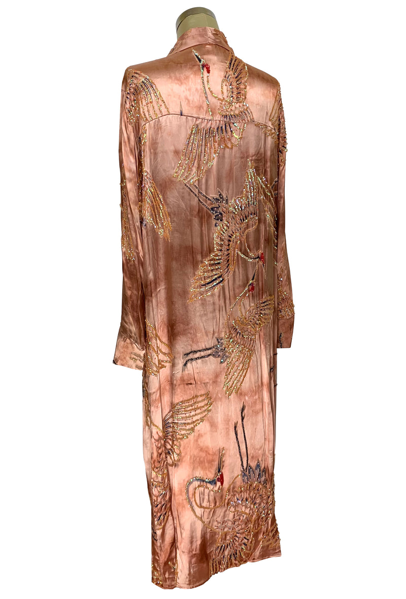 Luxe Art Deco Satin Hand-Dye Beaded 1920s Japanese Swan Lounging Robe - Terracotta