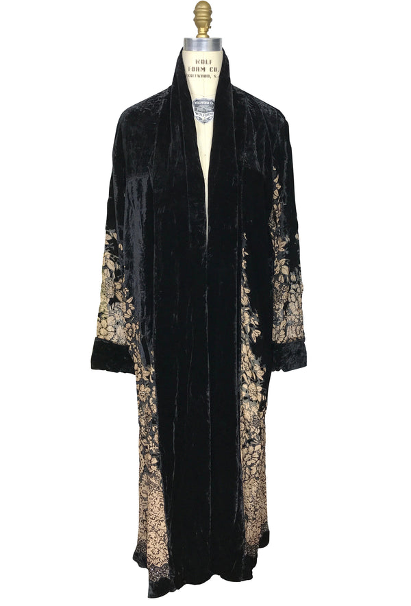 Luxe Art Deco Silk Velvet Beaded Burnout 1920s Mini Floral Lounging Robe - Black - The Deco Haus