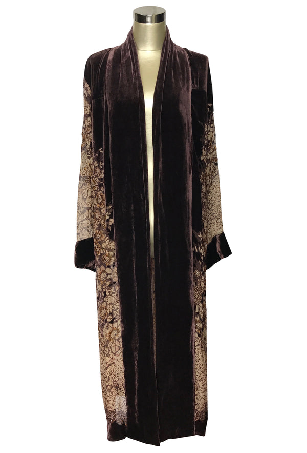 Luxe Art Deco Silk Velvet Beaded Burnout 1920s Mini Floral Lounging Robe - Espresso Brown