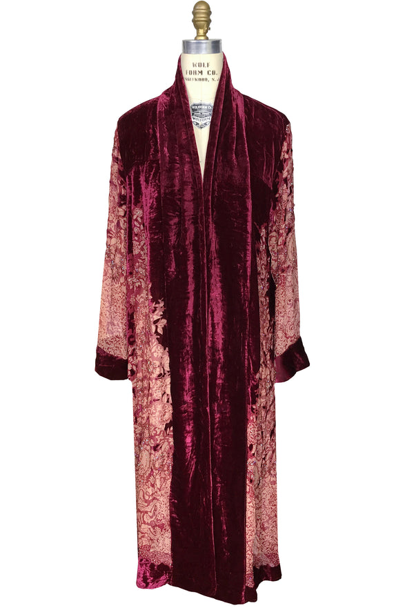 Luxe Art Deco Silk Velvet Beaded Burnout 1920s Mini Floral Lounging Robe - Red