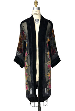 Luxe Art Deco Silk Velvet Burnout Beaded 1920s Royal Botanical Lounging Robe - Black