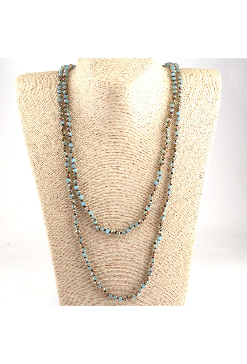 Luxe Faceted Czech Glass Crystal Beaded Ultra Long Flapper Necklace - The Deco Haus