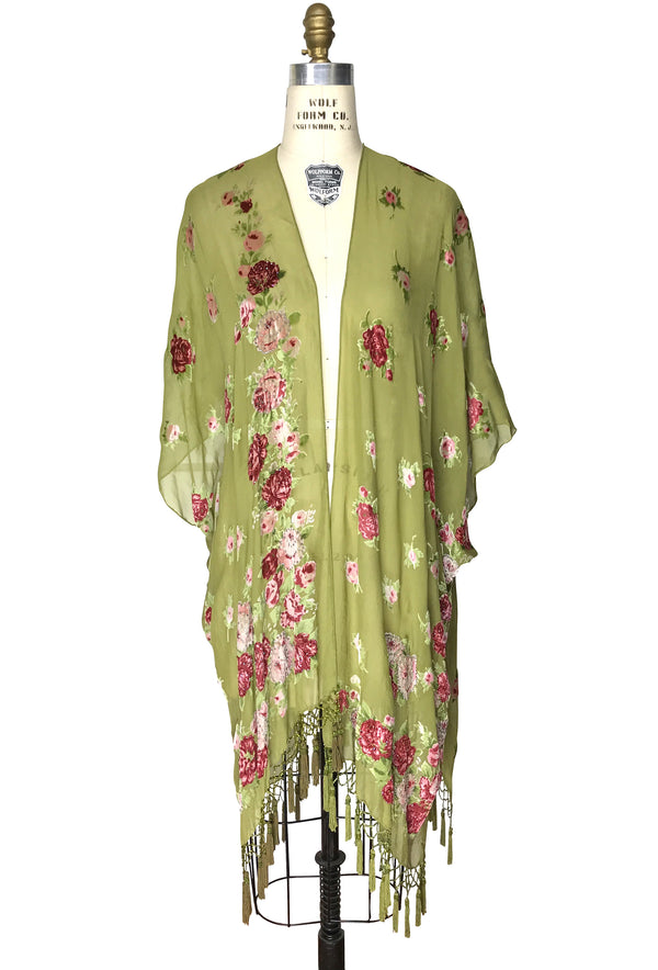 Luxury English Rose Silk Chiffon Tassel 20s Dressing Room Wrap - Olive Green - The Deco Haus