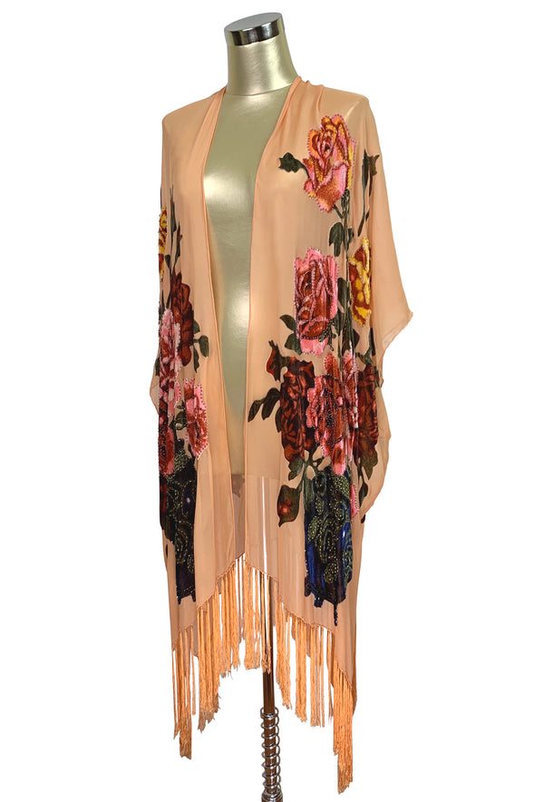 Luxury Victorian Rose Silk Chiffon Tassel 20s Dressing Room Wrap - Apricot