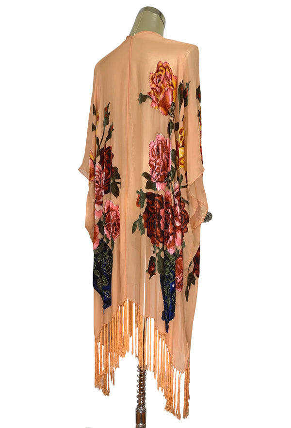 Luxury Victorian Rose Silk Chiffon Tassel 20s Dressing Room Wrap - Apricot - The Deco Haus