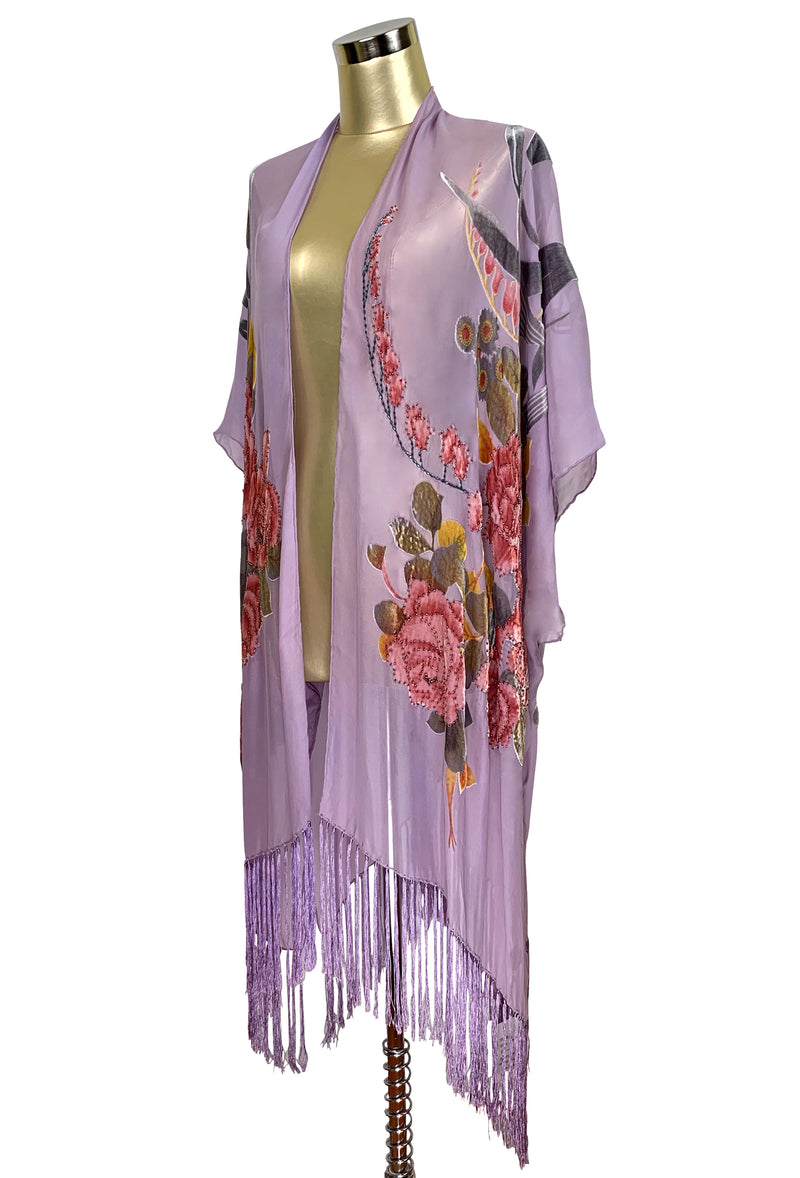 Luxury Victorian Rose Silk Chiffon Tassel 20s Dressing Room Wrap - Lavender