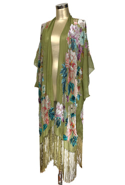 Luxury Victorian Rose Silk Chiffon Tassel 20s Dressing Room Wrap - Olive Green