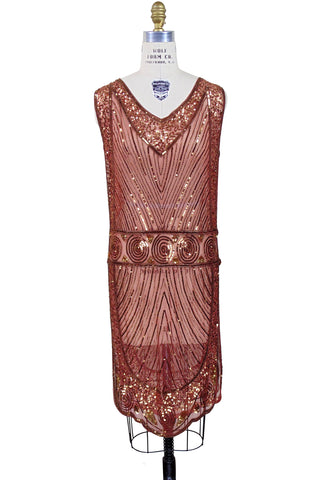 The Modernist Deco Gown - Gold on Brick Red