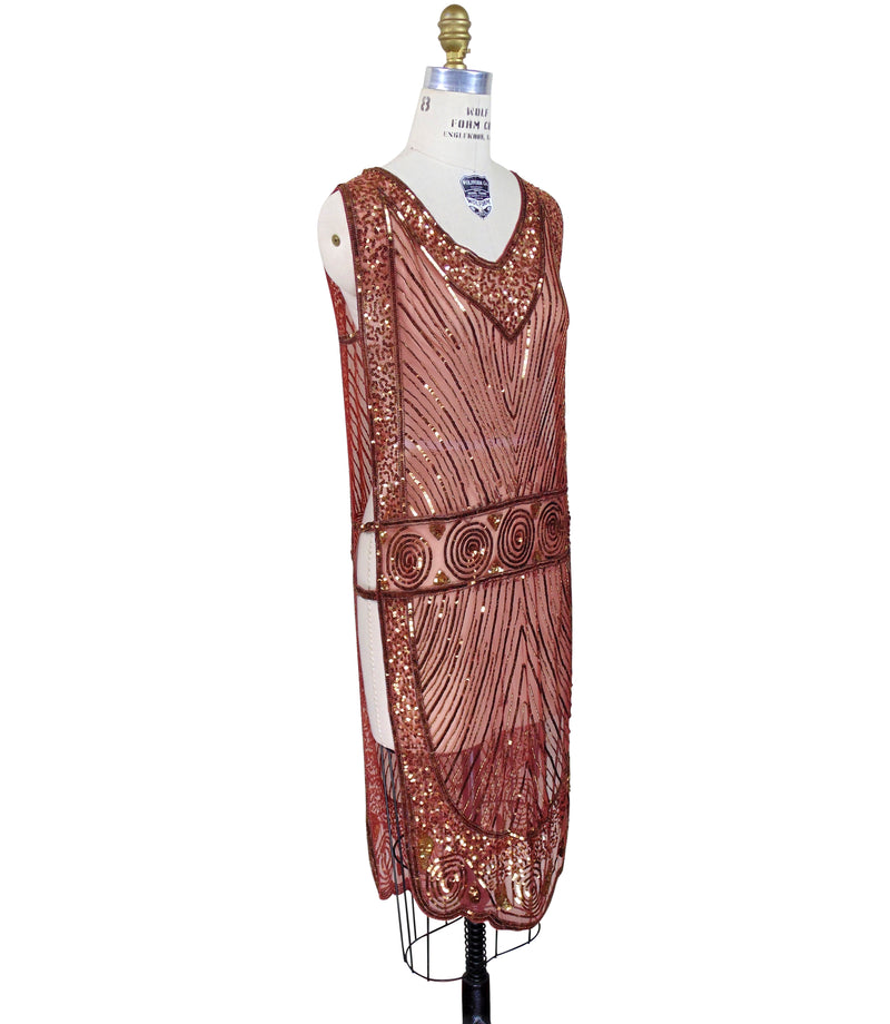 1920's Beaded Vintage Deco Tabard Panel Gown - The Modernist Deco Gown - Gold on Brick Red - The Deco Haus