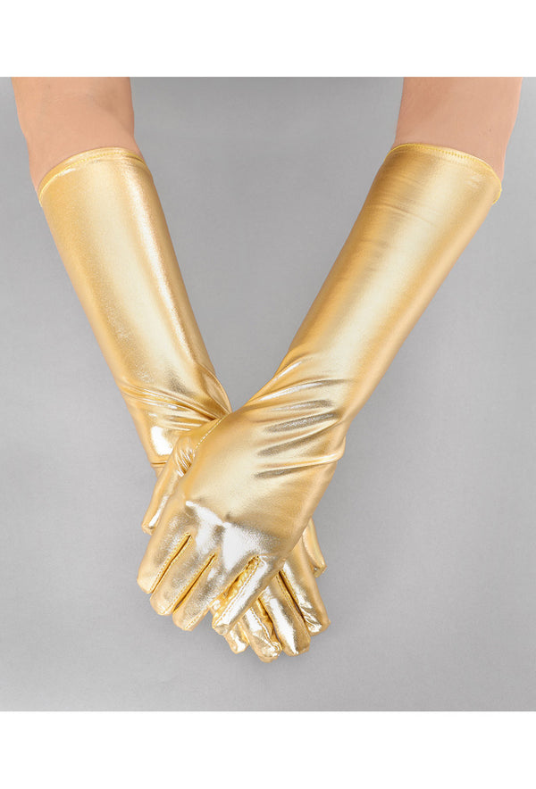 Metallic Luxe Long Opera Evening Glove - Gold