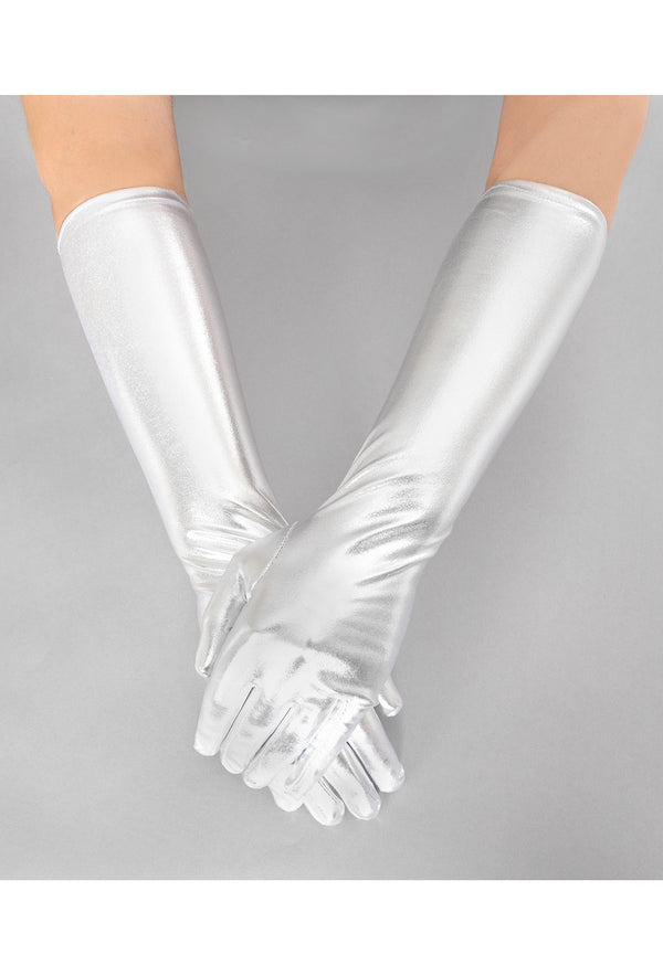 Metallic Luxe Long Opera Evening Glove - Silver