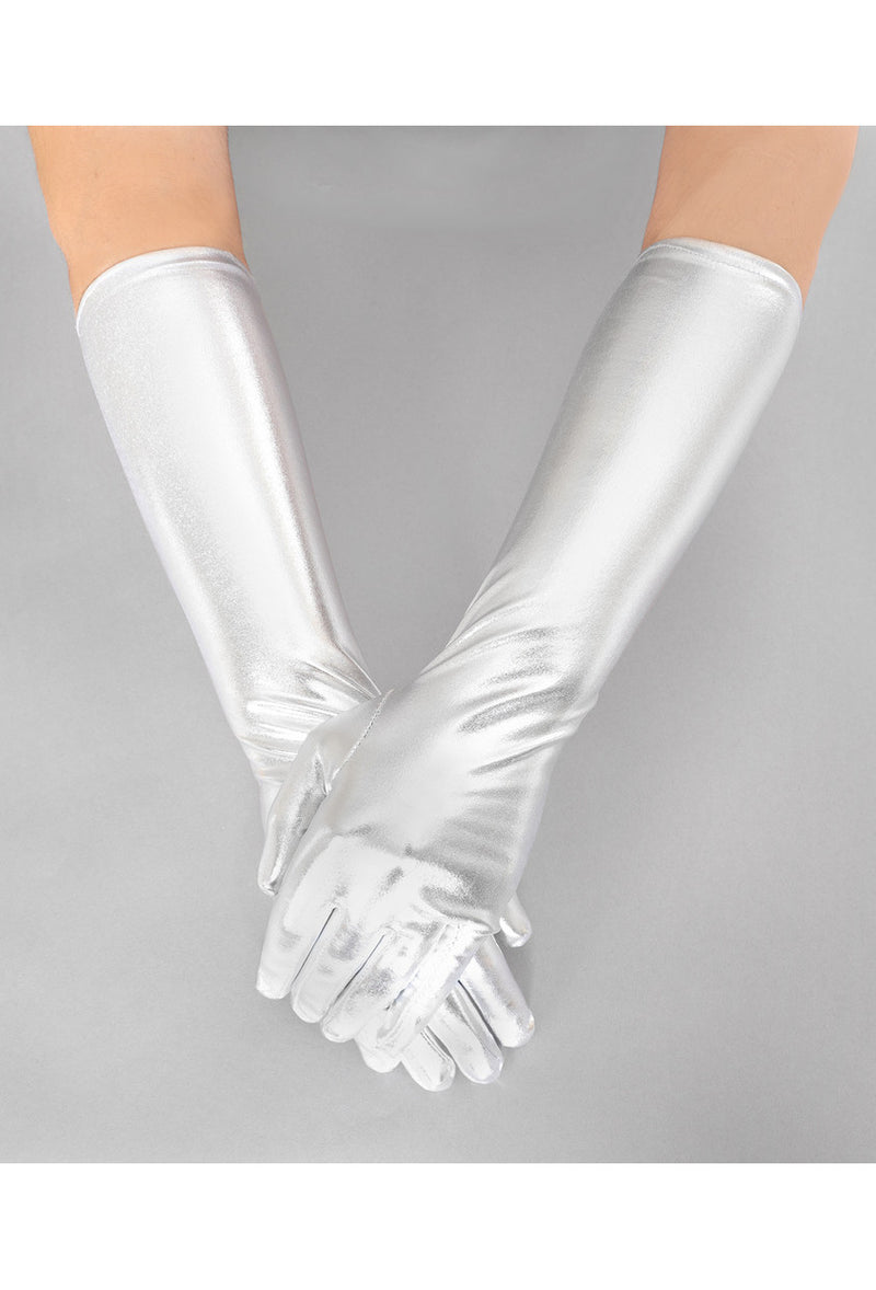 Metallic Luxe Long Opera Evening Glove - Silver - The Deco Haus