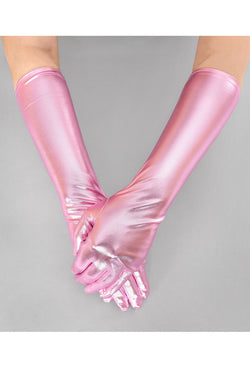 Metallic Luxe Long Opera Evening Glove - Vintage Pink